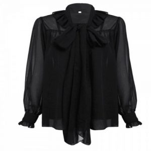 Bow Collar and Ear Cuffs Chiffon Shirt