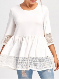 Lace Panel Peplum Top