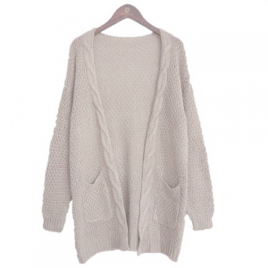 Long Large Size Solid Pocket Lady Twist Knit Cardigan Sweater