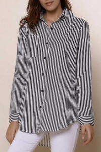 Long Sleeve Striped Button Up Shirt