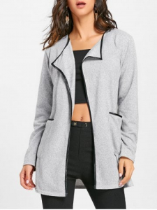 Pockets Contrast Bordure Open Front Cardigan