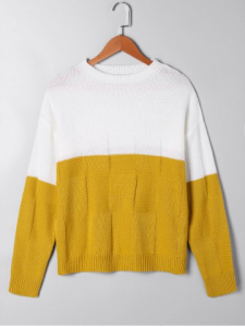 Two Tone Crew Neck Sweater