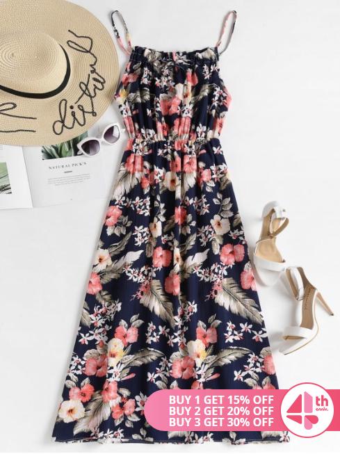 Elastic Waist Floral Maxi Dress - $23.49