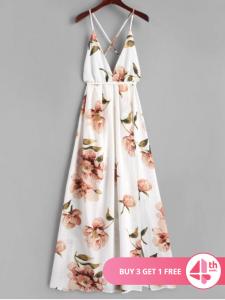 Slit Floral Criss Cross Maxi Dress - $25.99