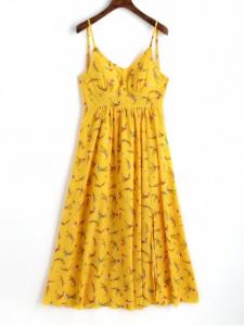 Slit Printed Maxi Slip Dress - $25.49