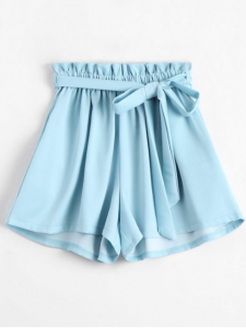 Smocked Belted High Waisted Shorts - $12.99