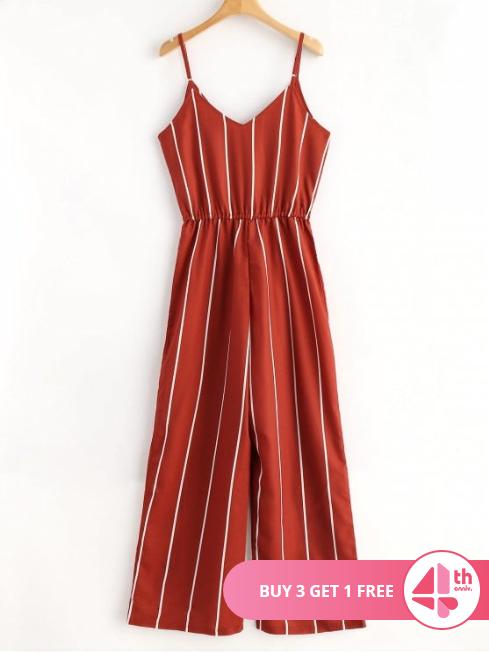 Striped Surplice Cami Jumpsuit - $19.49