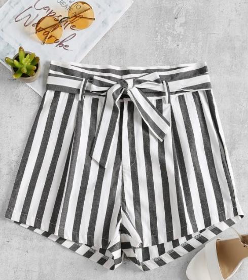 Stripes Belted Shorts - $13.99